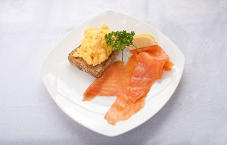Smoked Salmon and scrambled egg breakfast