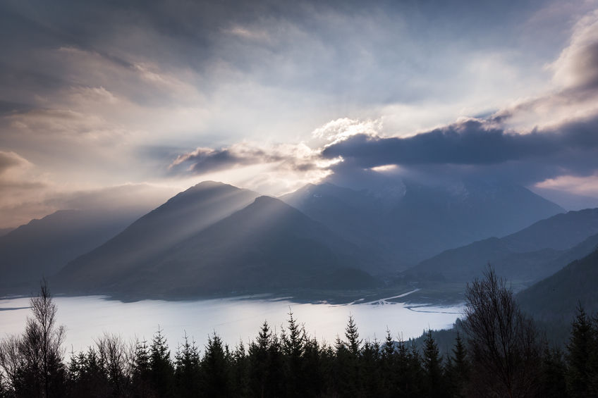 View over Loch Duich and the Five Sisters of Kintail.